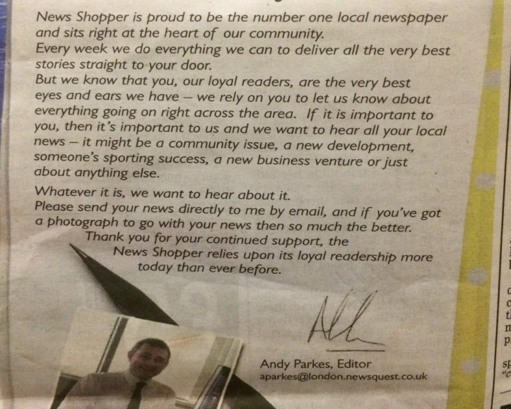 Last week's paper contains an appeal to readers to send in news