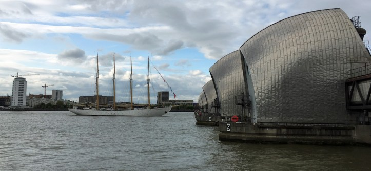 Tall ship at the Thames Barrier, 16 April 2017