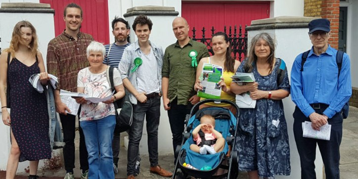 Green Party photo of members campaigning