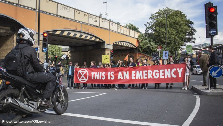 Extinction Rebellion protest in Lewisham