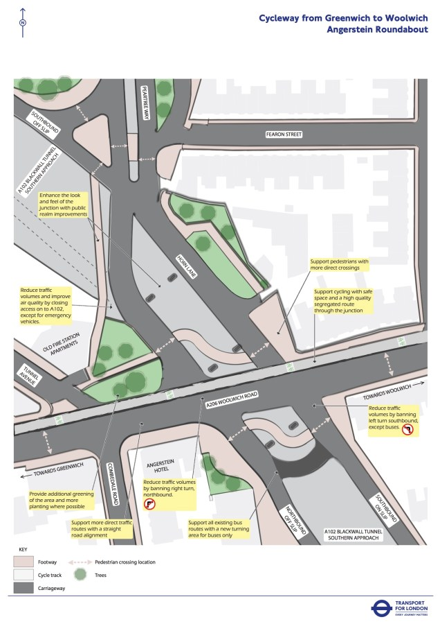 TfL Angerstein roundabout plans