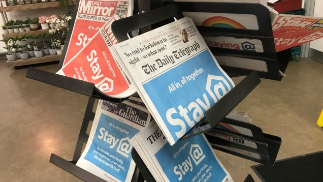 Newspaper display in M&S Charlton, 17 April 2020