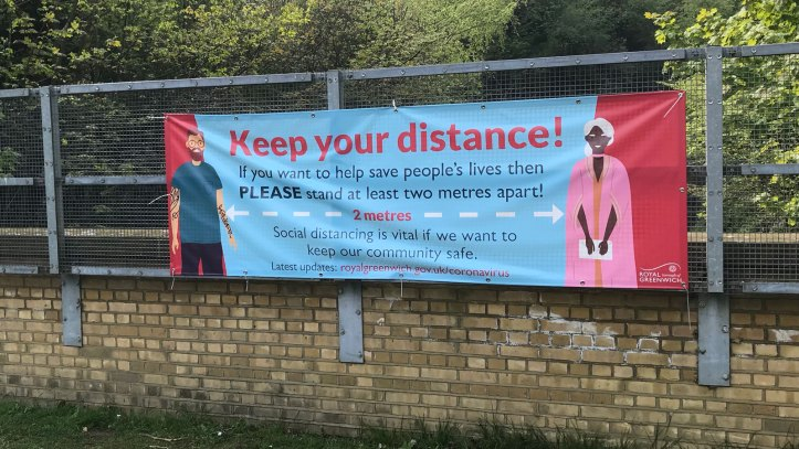 Social distancing banner in Maryon Park, Charlton