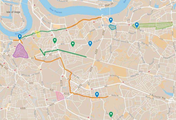 Map of cycling and walking schemes