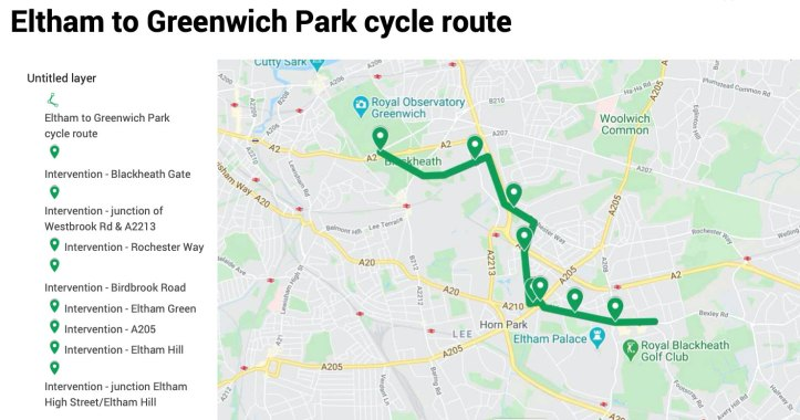 Eltham to Greenwich Park cycle route