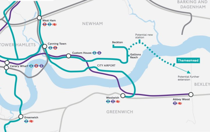 TfL map of DLR extension