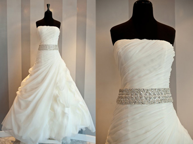 Super Attractive Beaded Sash Ruffle Ball Gown Strapless