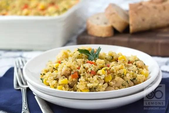 Corn Chowder Quinoa Casserole #vegan #glutenfree  86lemons.com