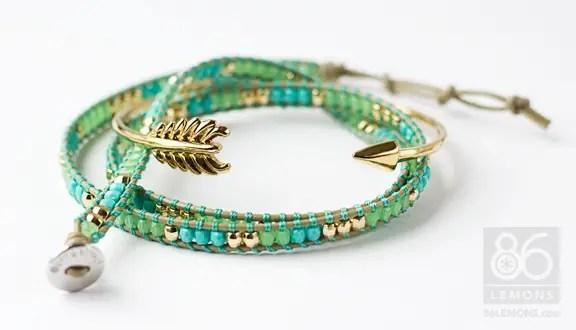 Triple Wrap Bracelet in turquoise/green/gold 86lemons.com #accessories #bracelet #wrapbracelet #turquoise #summer