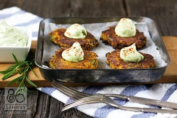 Sweet Potato Asparagus Cakes with Lemon Basil Cream #appetizer #vegan #glutenfree 86lemons.com