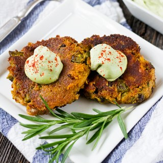 Virtual Vegan Potluck: Sweet Potato Asparagus Cakes with Lemon Basil Cream (vegan, gf)
