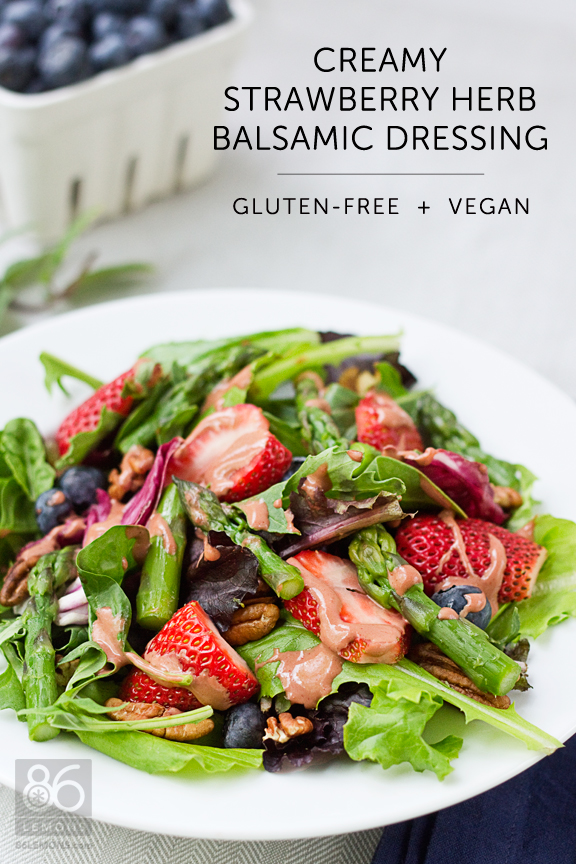 Creamy Strawberry Herb Balsamic Dressing #vegan #glutenfree #salad #dressing 86lemons.com