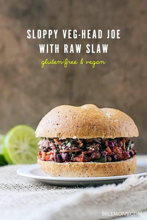 Sloppy Veg-Head Joe with Raw Slaw #vegan #glutenfree