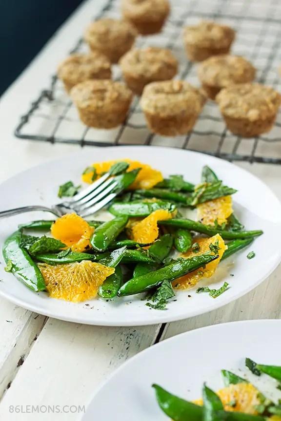 Sugar Snap Peas with Mint and Warm Coconut Dressing #vegan #glutenfree #salad