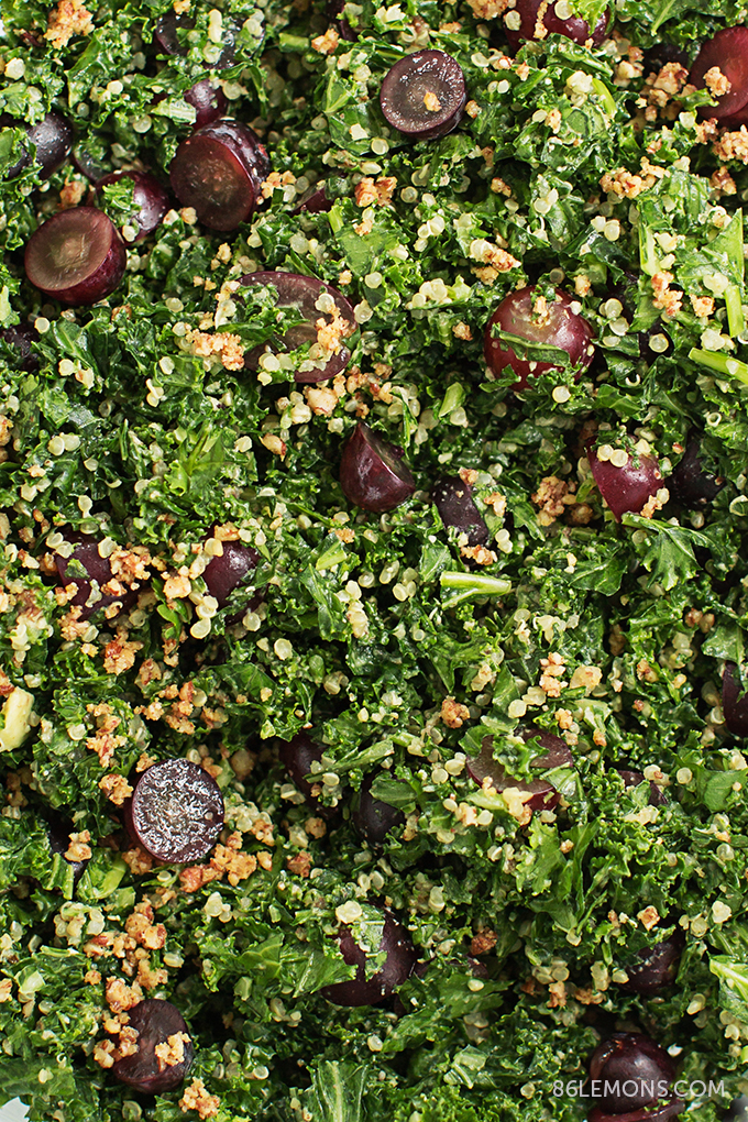 Vegan Chopped Kale & Quinoa Salad Recipe With Grapes & Nuts