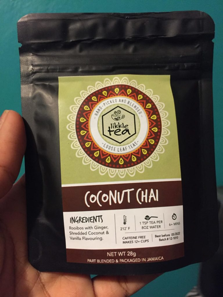 small refillable package of Coconut Chai Likkle Tea by 876Lover