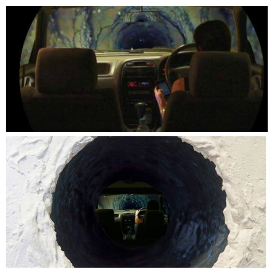 Driving to the Centre of the Earth, 2012, silent video, modified monitor, latex, PVC pipe, paint, 6 minute loop, installed in a hole in the wall, 10 x 10 x 35 cm