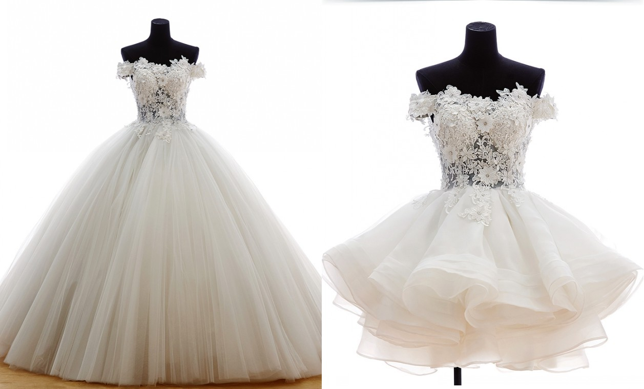 Luxury 2 Pieces Ball Gown White Wedding Dress 2015