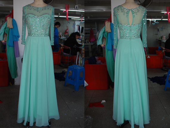 New Arrival Long Sleeves High Neck Mint Chiffon Prom Dress