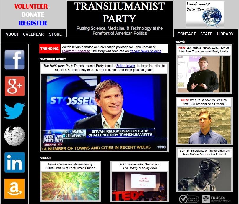 Le site Internet du parti Transhumaniste, aussi rudimentaire qu'emprunt de mégalomanie. (capture d'écran: http://www.transhumanistparty.org/)
