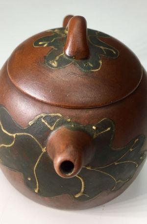 蔣蓉 大紅袍 紫砂荷葉舊茶壺