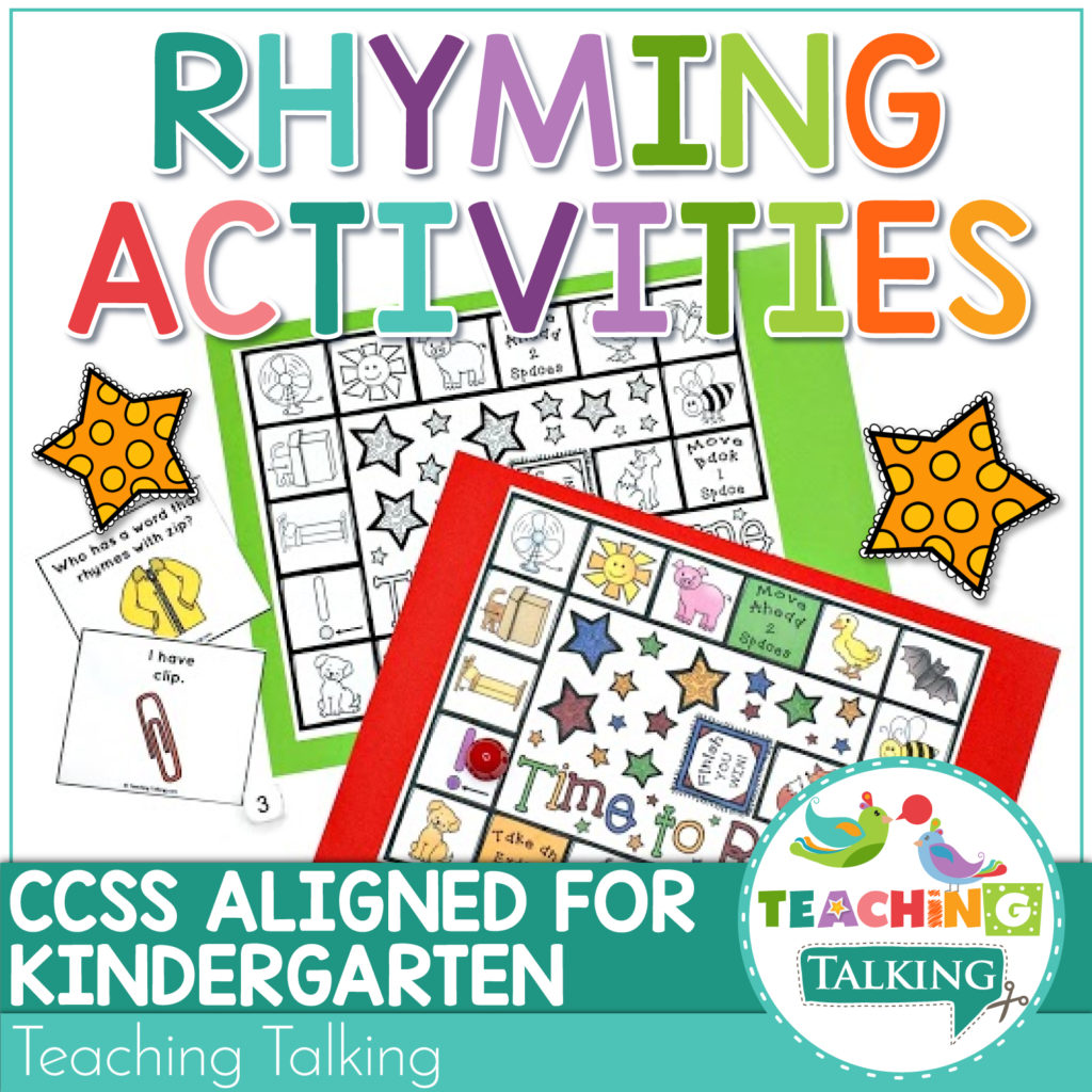 Rhyming Activities And Games For Speech Therapy Ccss Rf 2