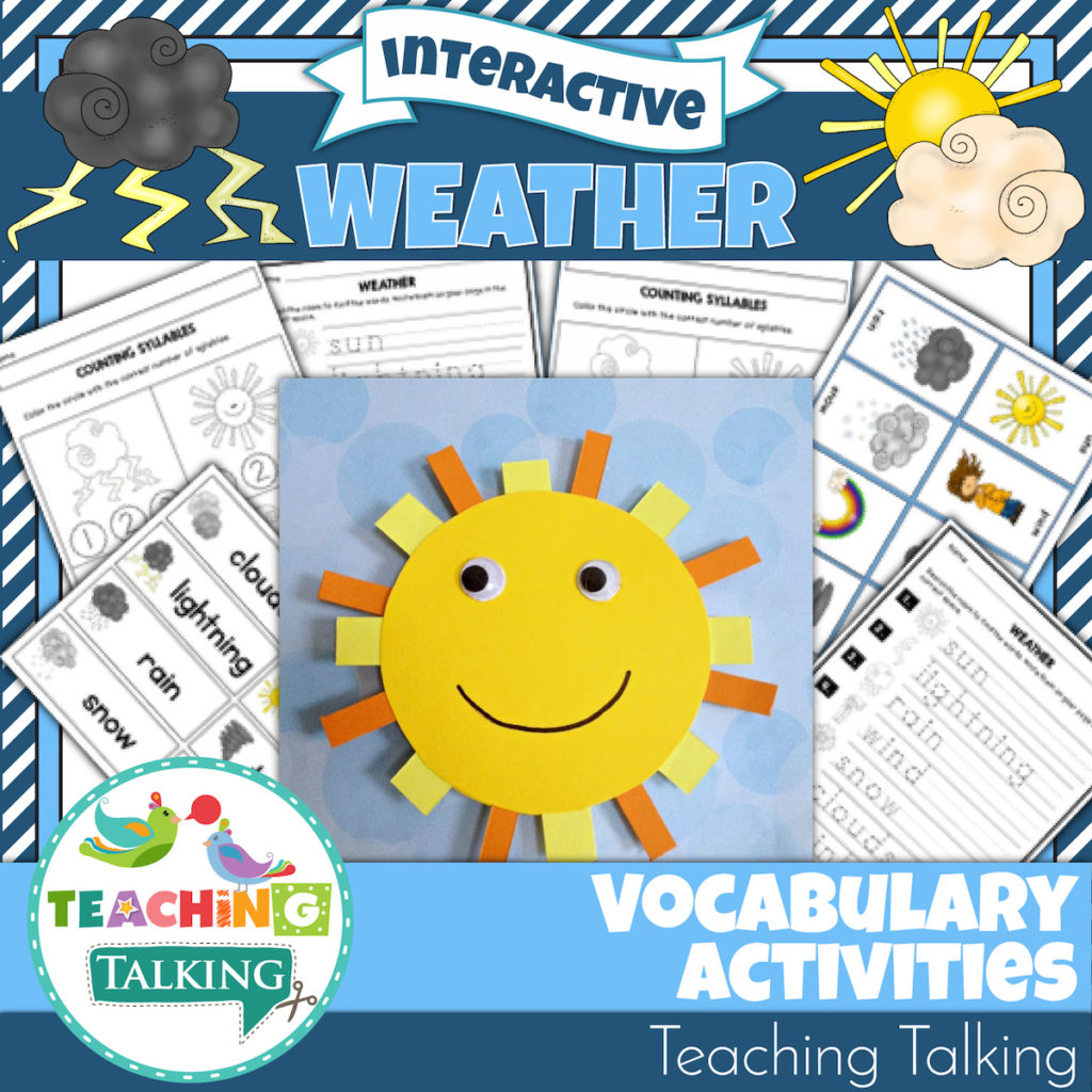 Weather Unit Vocabulary Activities For Speech Therapy