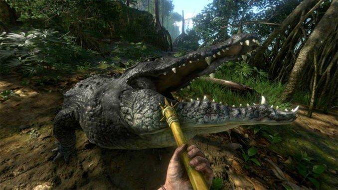 Dieses Bild zeigt wie ein Krokodil aus Green Hell den Spieler angreift.