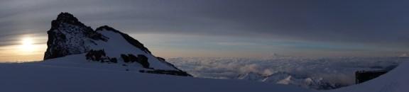 Sunrise at Camp Muir, Mt. Adams in the horizon