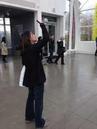 Taking pictures of the Chihuly chandeliers