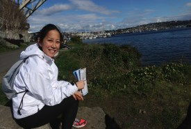 Tina taking a short break along the Burke-Tillman trail