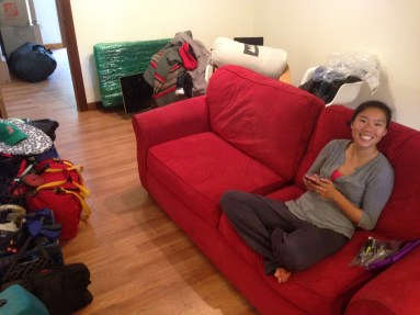 Moving in. Stoked to sit in a couch!