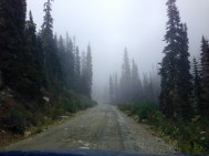 Driving back to Pemby through the fog and clouds.