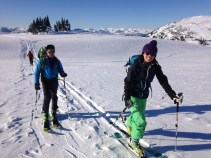Out on a bluebird ski tour with 15 other friends!