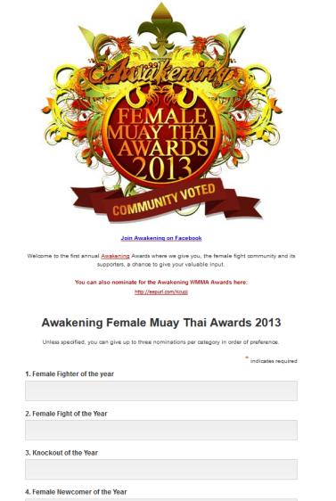 Female Muay Thai Award Nominations