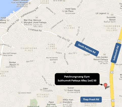 Map of Petchrungruang Gym - Sukhumvit Pattaya Alley soi 50 - Muay Thai