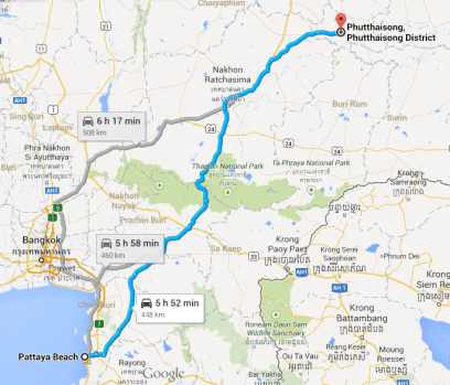 Pattaya to Phutthaisong District - Thailand Map