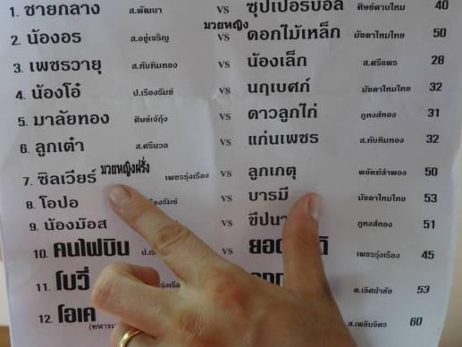 Program for 100th Fight in Thailand - Sylvie v