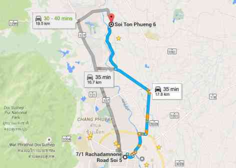 Map of Chiang Mai to Mae Rim - Pettonpung Gym - All Female Muay Thai-w1400