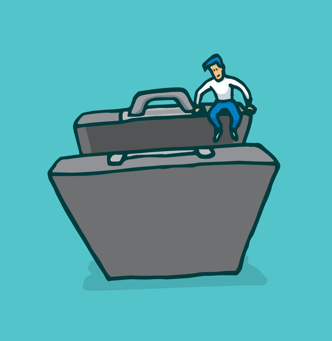 51818424 - cartoon illustration of tiny man engaging new business in suitcase or portfolio