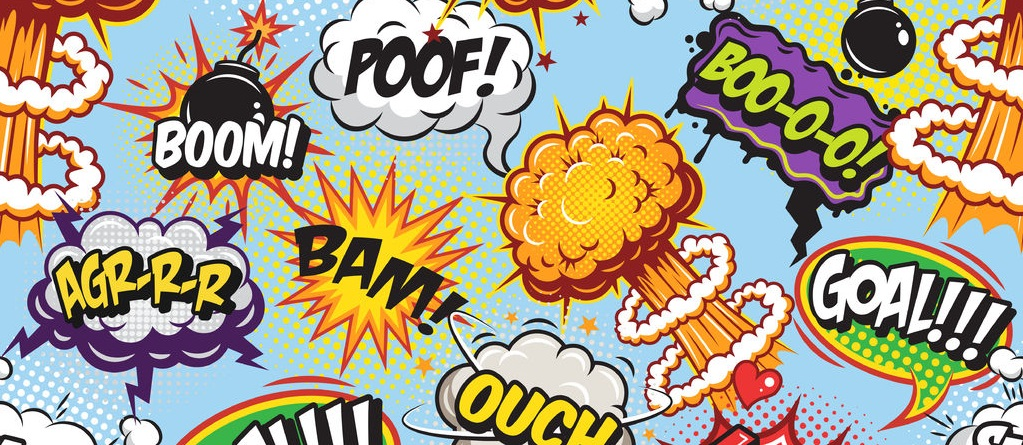 41712579 - comics pattern with speech and explosion bubbles on blue background.