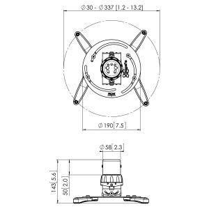 PPC 2500 Proyector Techo 30 Kg | Vogel's
