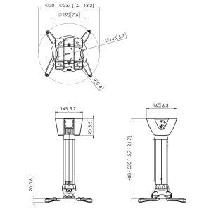 PPC 1540 Proyector techo regulable 20 Kg | Vogel's