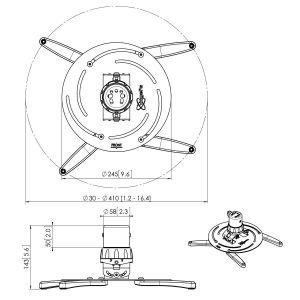 PPC 1555 Proyector techo regulable 20 Kg | Vogel's
