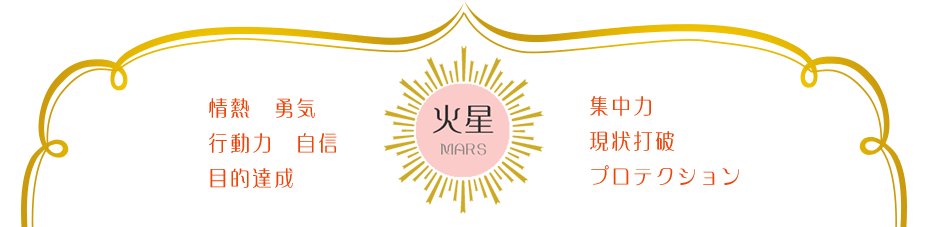 火星のキーワード:活力 行動力 自信 目的達成 集中力 現状打破