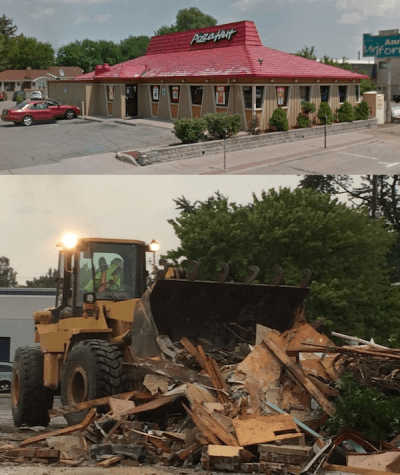 The Ferndale Pizza Hut, before and after. Top image courtesy Google Maps.