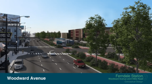 This rendering of a proposed rapid bus transit station in the median of Woodward Avenue in Ferndale looks exciting. Except that there's a big loft building that has eaten up Anita's Kitchen. Not cool, RTA, not cool.