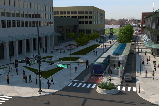 A rendering of a proposed BRT station in downtown Pontiac.