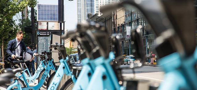 The Divvy bike share program in Chicago.