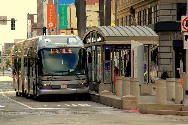 A bus rapid transit coach in Cleveland.